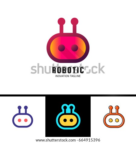 smart robot logo template cute