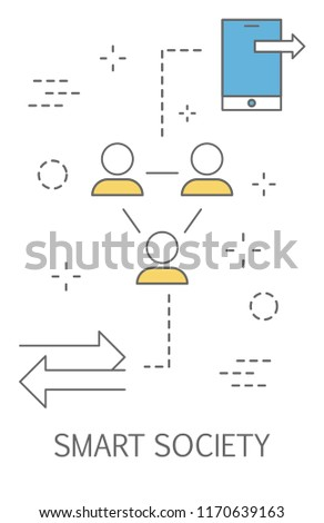 Smart society in the city of the future. Idea of people using mobile devices for different things: healthcare, connection and transportation. Augmented reality. Isolated flat vector illustration