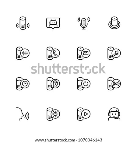 Smart speaker and virtual assistant related vector icon set in outline style