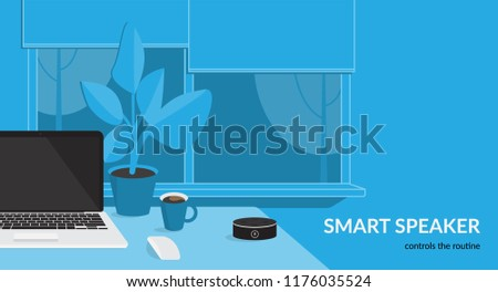 Smart speaker controls the routine. Flat vector illustration for mockup design of black home smart speaker with integrated virtual assistant at the workdesk with laptop in the room interior