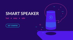 Smart speaker, voice command device with integrated virtual assistant. Flat vector neon website template and landing page design of speaker with speech bubble and message