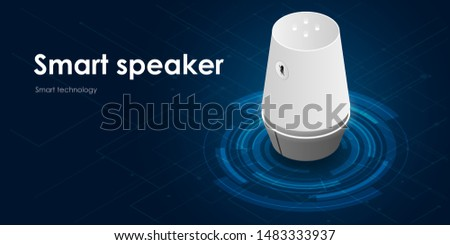 Smart speaker, voice command device with integrated virtual assistant. isometric vector neon website template and landing page design of speaker. EPS 10