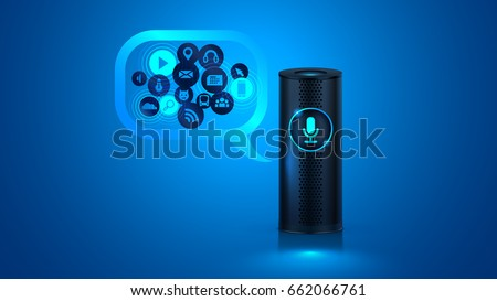 Shutterstock Smart speaker with voice control. Voice control of your smart home. Smart speaker reports the news, plays music, answers questions. VECTOR.
