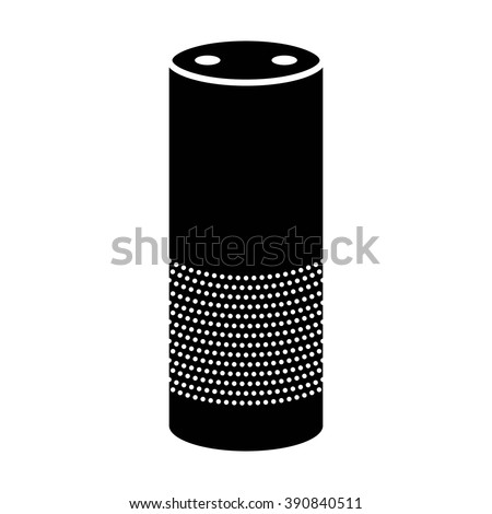 Smart speaker with voice recognition flat vector icon for apps and websites