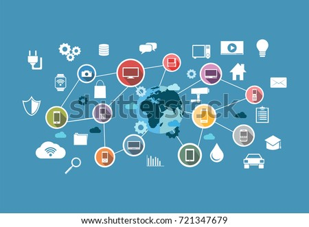 Smart system. Computing system. Internet of Thing. IoT.  Devices and connectivity concepts on a network.