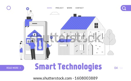 Smart Technologies Website Landing Page. People at Huge Tablet with App for House System Centralized Control. Ventilation Security Service Web Page Banner. Cartoon Flat Vector Illustration, Line Art