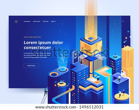 Smart technology blue landing page template. Business development platform website homepage UI idea with isometric vector illustrations. Futuristic city, cyberspace web banner dark color 3D concept