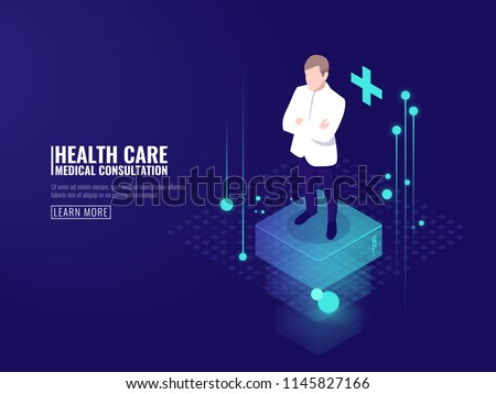 Smart technology in healthcare, doctor stays on platform, online medical consultation isometric vector dark neon #1145827166