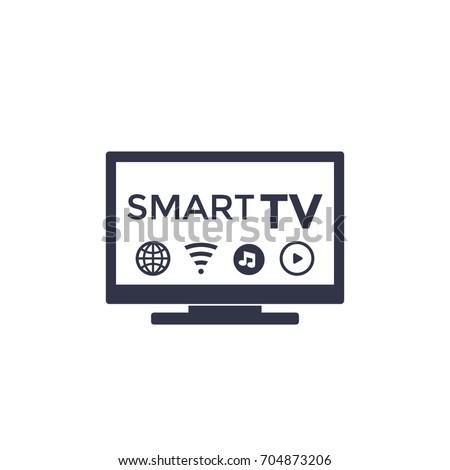 Smart tv icon on white