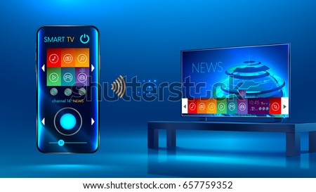 Smart TV is on the table. Smart TV interface. A smartphone is a remote for a smart TV. Interface for Smartphone app. Vector