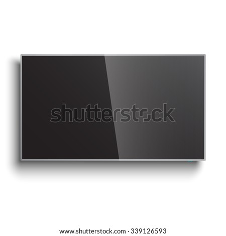 Smart TV Mock-up, Vector LED screen hanging on the wall