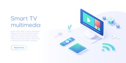 Smart tv multimedia concept in isometric vector illustration. Television set with remote control and mediaplayer box connected via wi-fi internet. Iot or smart home. Web banner layout template for web