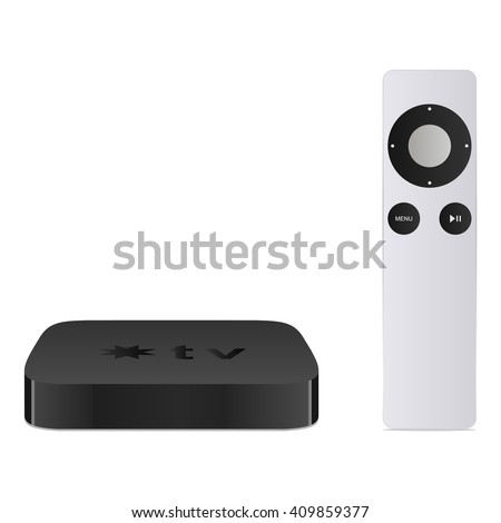 Smart tv with remote, modern airplay television, vector illustration isolated on white
