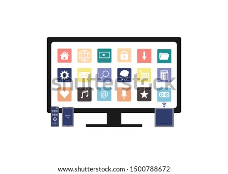 Smart TV with set of icons internet, PC, media. 4K Ultra HD Modern Curved Screen TV with remote control, television multimedia box and smartphone on white background. Vector flat stock illustration