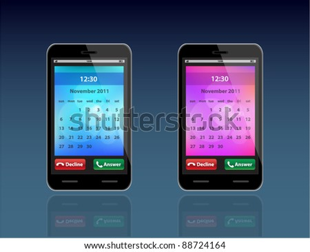 Smart vector black phone with abstract blue and purple background and calendar - stock vector