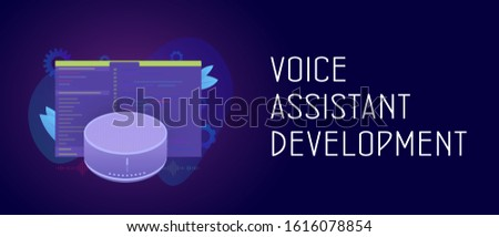 Smart Voice Assistant development application cooncept. Smart speaker with wireless voice assistant app software with developer code window. Header and footer banner template with text.