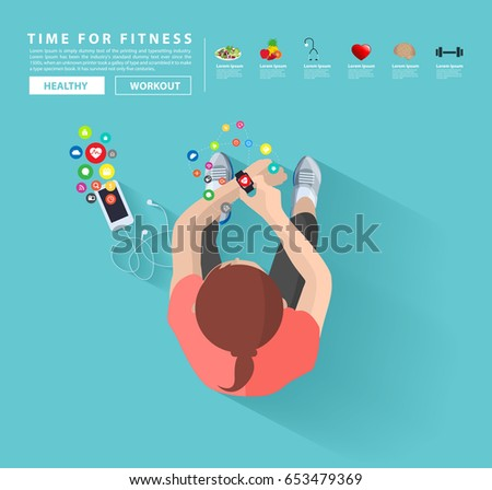 Smart watch and smart phone, Fitness woman with applications icons flat design idea concept living healthy life, Vector illustration layout template