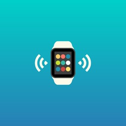 Smart Watch and Smartphone Synchronization concept with mobile apps icons. Vector illustration