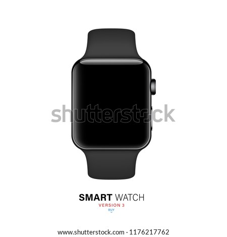 smart watch black color with silicone band isolated on white background. realistic and detailed stainless steel clock mockup. stock vector illustration