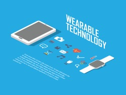 Smart watch concept illustration. Smartwatch and smartphone as wearable technology with icons for apps interface. Eps10 vector illustration.