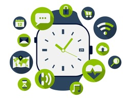 Smart watch illustration with lots of application icons