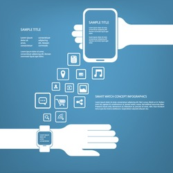 Smart watch infographics concept vector illustration with space for text