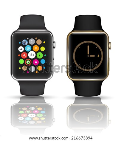 Smart watch isolated with icons on white background. Vector illustration.