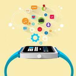 smart watch new technology electronic device with apps icons flat design vector illustration