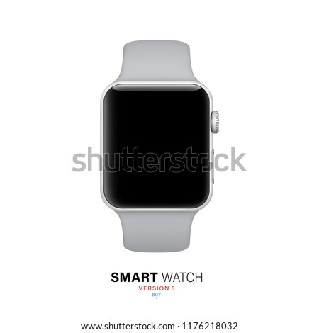smart watch silver color on white background. stock vector illustration eps10