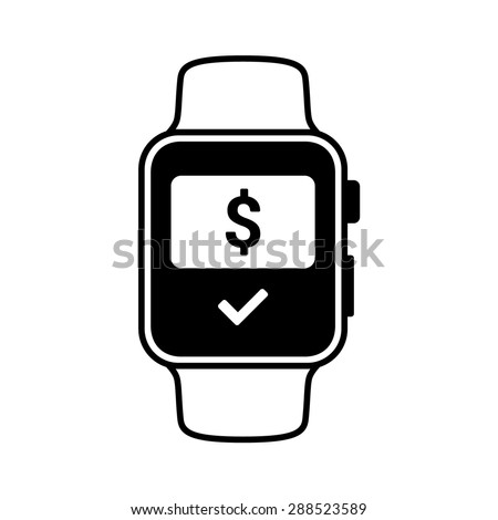 Smart watch wearable with NFC payment flat vector icon for apps and websites