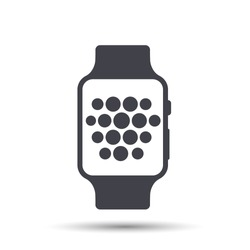 Smart watch wearable with time face flat icon. Vector Illustration