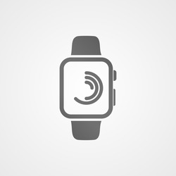 Smart watch with application icon on screen. Vector icon.