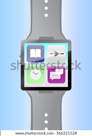Smart watch with icons, flat concept