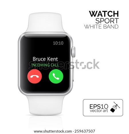 Smart watch with white band isolated. Aluminum watch device sport. Vector smart watch device with phone call. Wearable smart device reflected on white. Modern smart device in aluminum case