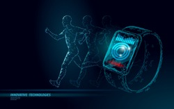 Smart watches fitness tracker health care device. Medicine app business concept. Human heart beat sport monitor modern design. Low poly polygonal design banner vector illustration