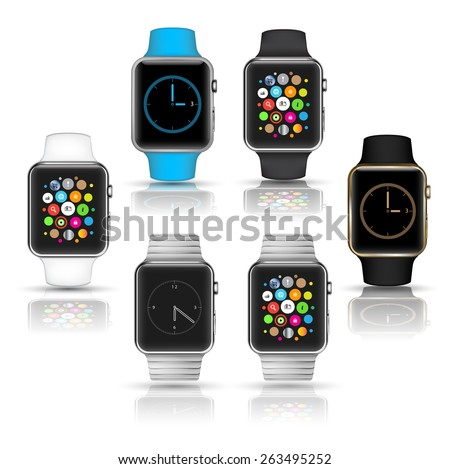 Smart watches wearable collection computer new technology. Vector Illustration.
