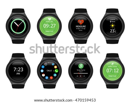 Smart watches wearable collection computer new technology. Vector Illustration. White background.