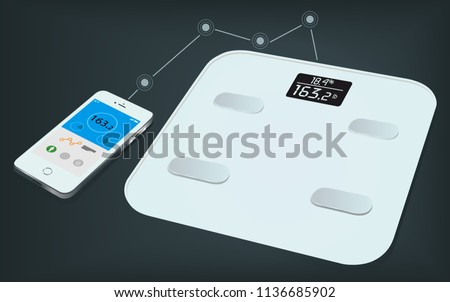Smart weight scale and a smartphone with weight information on it's display. Getting information of weight using mobile app. Smart body analyzer. Measuring Weights.