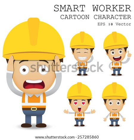 smart worker cartoon character