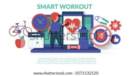 Smart workout Concept for web page, banner, presentation, social media, documents, cards, posters. Vector illustration