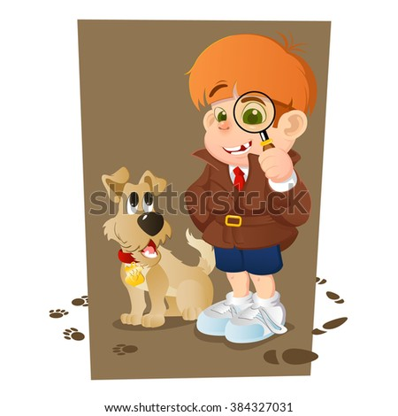 Smart young cartoon detective boy and his dog