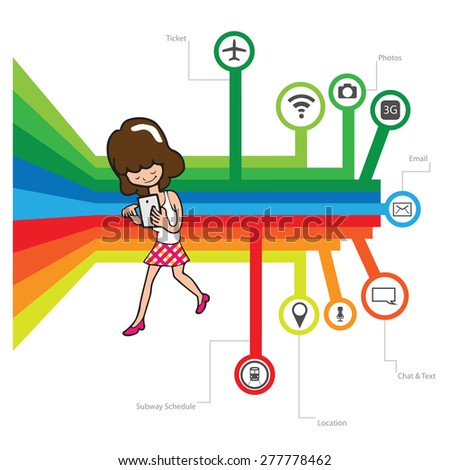 stock vector smart phone chat online concept cartoon woman face screen