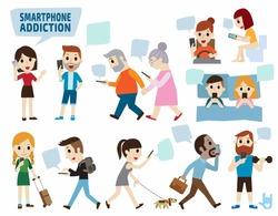 smartphone addiction.bad lifestyle concept.infographic element.flat cute cartoon design illustration.isolated on white background.