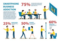 Smartphone Addiction Infographics.Office,business,