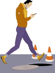 Smartphone addiction. Man looking at his smartphone and walking into an open manhole, vector illustration
