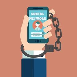 Smartphone Addiction, social network handcuffs vector illustration