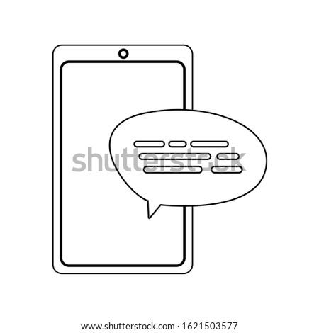 Smartphone and bubble design, Digital technology communication social media internet web and cellular theme Vector illustration