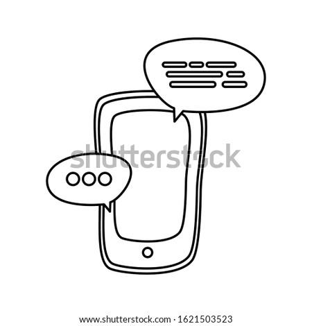 Smartphone and bubbles design, Digital technology communication social media internet web and cellular theme Vector illustration