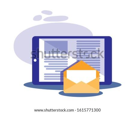 Smartphone and envelope design, Cellphone mobile digital phone technology communication and social media theme Vector illustration