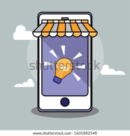 Smartphone and light bulb design, Digital technology communication social media internet web and cellular theme Vector illustration